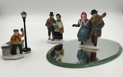 Dept 56 Tiny Tim Bob & Mary Cratchit Skaters 3 Figures Dickens Village and Bonus