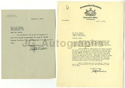 Gifford Pinchot - 28th Governor of Pennsylvania - Pair of Autographed Letters