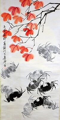 Vintage Chinese Watercolor CRAB & MAPLE LEAF Wall Hanging Scroll Painting