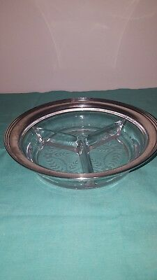 Floral Design Glass With A145 Sterling Silver Rim Candy Bowl With 3 Divisions