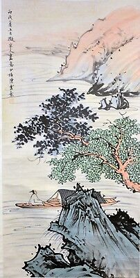 Vintage Chinese Watercolor RIVER LANDSCAPE Wall Hanging Scroll Painting w MARK