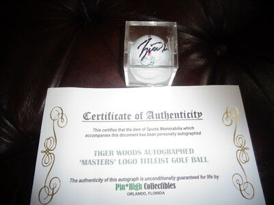 tiger woods autographed masters logo titleist golf ball