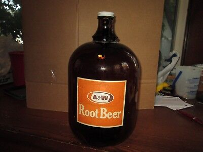 1960s Vintage A & W Root Beer Amber Brown 160 Oz.  Glass Jug with Cap