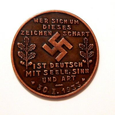 Adolf Hitler 1933 / Medal - Coin Of Iii Reich / Germany / Ww - 2
