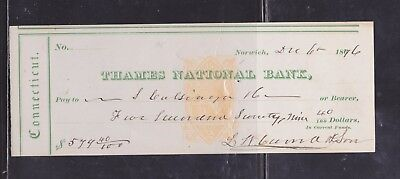 US Revenue Stamped Paper - RN-B1 - Check - Norwich CT (Thames National Bank)