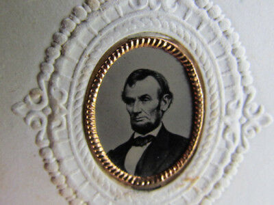 rare 1860's oval President Abraham Lincoln tintype photo on cdv size backing