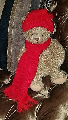 "Hallmark ""Mary"" Red KNIT  Hat & Scarf Christmas holiday 15"" Plush Brown Bear NEW"