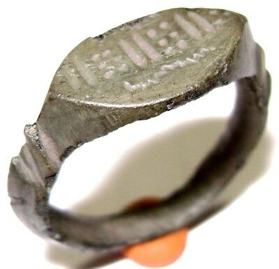 Ancient RARE Medieval  bronze Ring with ornament