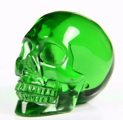 "1.9"" GREEN OBSIDIAN Carved Crystal Skull, Realistic, Crystal Healing"