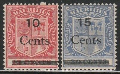 MAURITIUS STAMPS 1895-1904 SC#106 A38 12c SC#107 A38 15c COAT OF ARMS