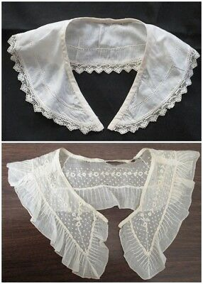 Lot of 2 ANTIQUE Edwardian COLLAR Embroidered Lace Vintage ~ TLC