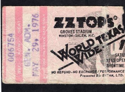 1976 ZZ Top Lynyrd Skynyrd Concert Ticket Stub Winston Salem NC World Wide Texas