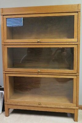 Antique Oak Barrister Bookcase, three sections
