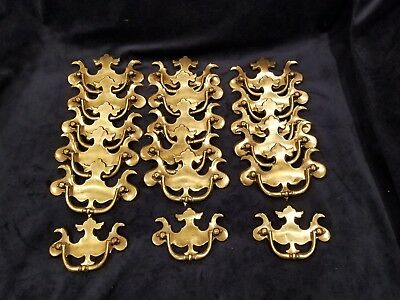 Vintage/Antique Solid Brass KBC Hardware Chippendale Pull Handles 18 pieces