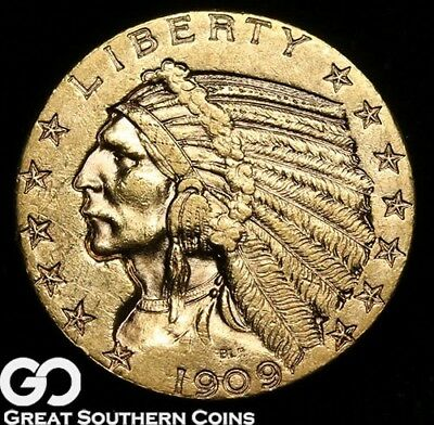 1909-D Half Eagle, $5 Gold Indian, Nice Lustrous Coin ** Free Shipping!