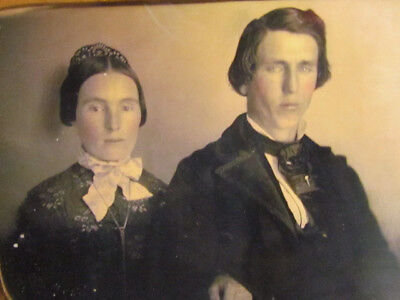 victorian husband and wife 1/4 plate daguerreotype photograph