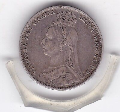 1889   Queen  Victoria  Sterling  Silver  Shilling  British Coin