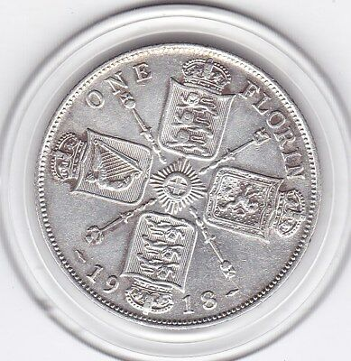 Very  Sharp  1918   King  George  V  Florin  (2/-)  Silver (92.5%)  Coin