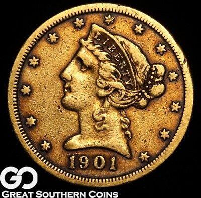 1901-S Half Eagle, $5 Gold Liberty, Early Gold ** Free Shipping!