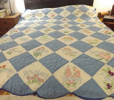 Vintage Handmade Blue & White Embroidered 48 States Flowers  Quilt Well Quilted