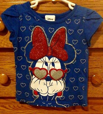 Disney 2T Minnie Red, White, & Blue with Silver Glitter 100% Cotton T-Shirt