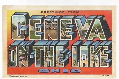 Large Letter Linen,greetings From Geneva On The Lake,oh -Pm 1946