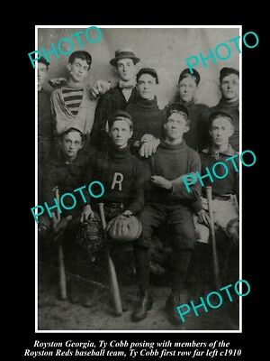 Old Large Historic Photo Of Royston Georgia, Ty Cobb With The Baseball Team 1910