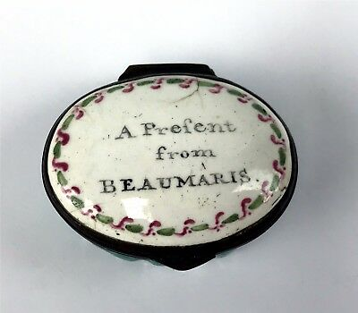 "Antique Battersea Bilston Enamel Patch Box ""A Present from Beaumaris"""