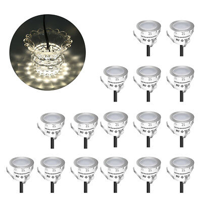 16pcs LED Deck Light Outdoor Step Stairs Garden Natural White Waterproof