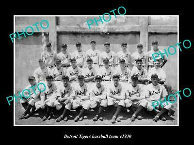 OLD LARGE HISTORIC PHOTO OF THE DETRIOT TIGERS BASEBALL TEAM c1930