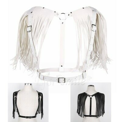 Retro Punk Women PU Leather Adjustable Body Chest Harness Tassel Cage Strap Belt