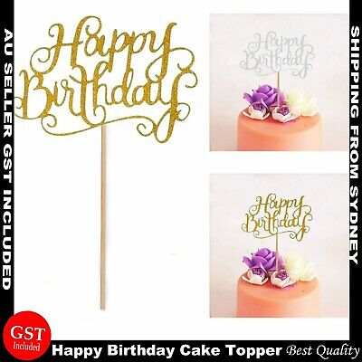 Happy Birthday Cake Topper Glod Silver  Glitter Party Parties Event Decorations