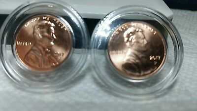 Rare TWO(2) BU 2017- P Lincoln Shield Cents Sealed in Air-tite capsules.