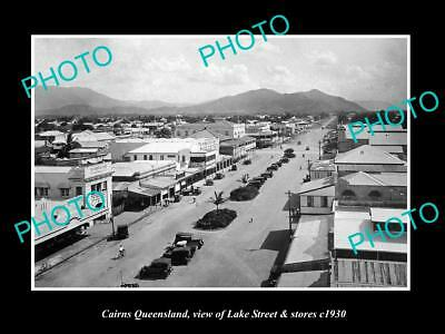 OLD LARGE HISTORIC PHOTO OF CAIRNS QUEENSLAND, VIEW OF LAKE St & STORES c1930 1
