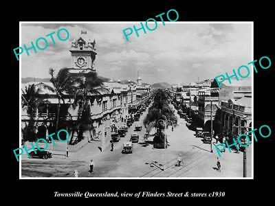 OLD LARGE HISTORIC PHOTO OF TOWNSVILLE QUEENSLAND, FLINDERS ST & STORES c1930