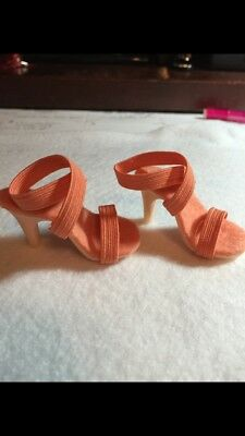 """New Miss Revlon Peach Strappy Heels for 18"""" or20"""" doll Fit others same saze"""