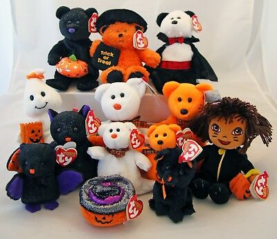 2007 Ty Halloween, Borders Exclusive, Dora, and Halloweenie Beanie Babys