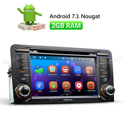 """7"""" Android 7.1 Car Stereo GPS Navigation For Audi A3 S3 Touch Screen HDMI 2GB R"""