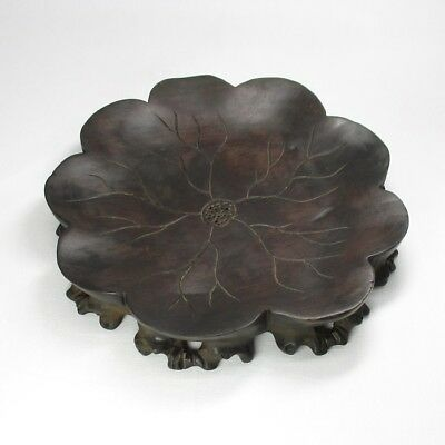A481: Chinese KARAKI heavy wooden decorative stand of popular lotus lesf shape