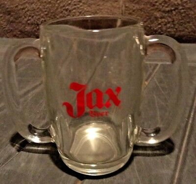 """Vintage Jax Beer Glass Double Handled Beer Mug Stein """"Taste you can hold on to"""""""