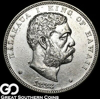 1883 Kingdom of Hawaii Dollar, Lustrous AU Silver Dollar, RARE Coin! ** Free S/H