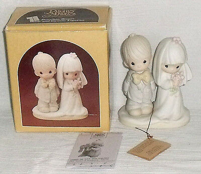 Precious Moments Bride Groom Figure Figurine Enesco E-3114 NEW In Box Vtg 1980
