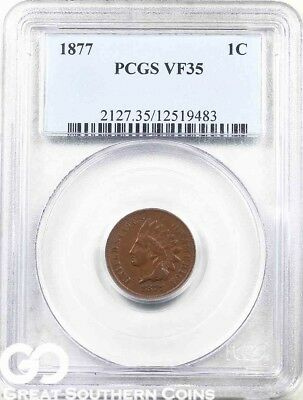 1877 PCGS Indian Head Penny PCGS VF 35 ** Super Scarce, Low Mintage Key Date!