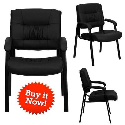 Black Leather Reception Office Chair Lobby Seat Waiting Room Visitor Furniture