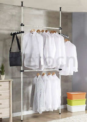 Coat Hanger Tools Garment Rack DIY Clothes Wardrobe 2 Poles 2 Bars