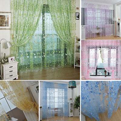 Floral Tulle Voile Door Window Curtains Drape Panel Sheer Scarf Valances Divider