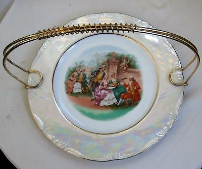 Vintage Porcelain Cake Plate~Carnival Glass Lustre~Old Scene~Lovely Piece