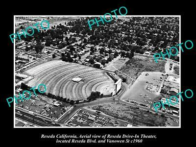 OLD LARGE HISTORIC PHOTO OF RESEDA CALIFORNIA, THE RESEDA DRIVE IN THEATRE c1960