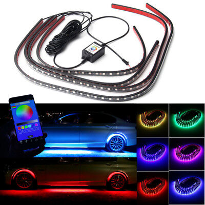 4x RGB LED Unterbodenbeleuchtung Atmosphäre Neon Licht App Musik Control Set