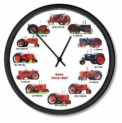 New RC CASE 1913-1957 Tractor Wheel Dial Clock 12 Vintage Tractors 10""
